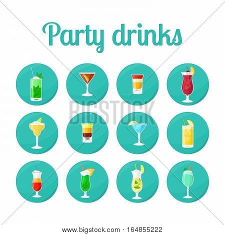 Party drinks in circle icons. Vector set for app, game design