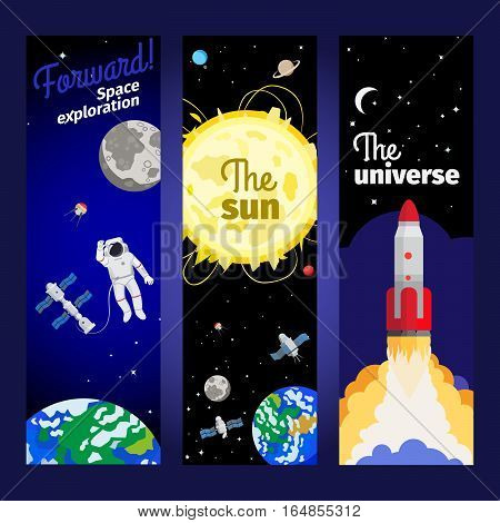 Space theme vertical flyers with astronaut floating in outer space, planets, rocket and stars. Vector illustration