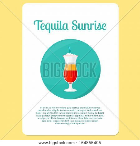 Tequila Sunrise cocktail menu item or sticker. Party drink in circle icon. Vector illustration
