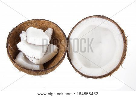 Coconut Cut in Two Halves on White Background