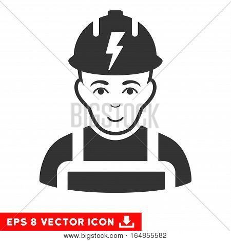 Vector Electrician EPS vector pictograph. Illustration style is flat iconic gray symbol on a transparent background.