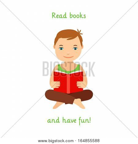 Read books and have fun poster design with child reading a book. Vector illustration