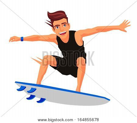 Cool surfer on the board. Vector illustration on white background. Sports concept.