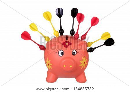 Piggy Bank with Darts on White Background