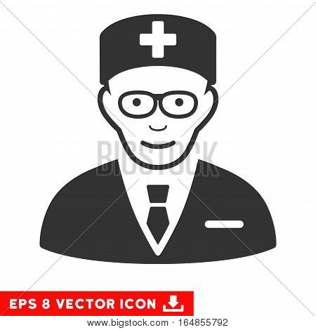 Vector Head Physician EPS vector icon. Illustration style is flat iconic gray symbol on a transparent background.