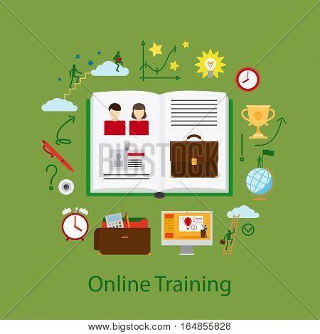 Online Education and Webinar Concept illustration on the green background. Vector illustration