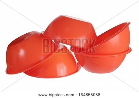 Red Plastic Bowls on a White Background