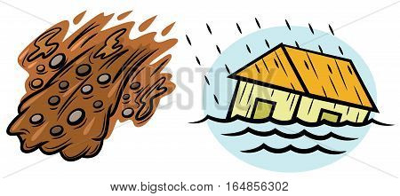 Flood and Landslide Natural Disasters Illustration. Vector Isolated on White.