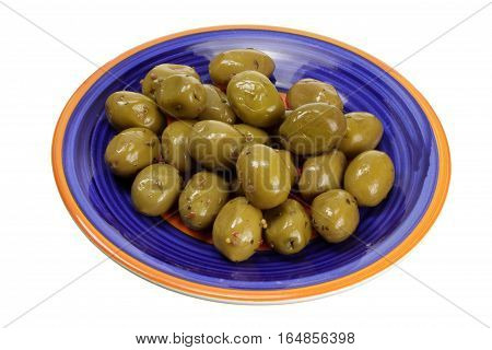 Plate of Green Olives on White Background