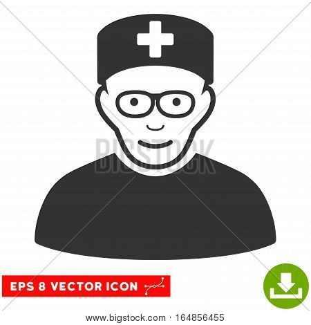 Vector Medical Specialist EPS vector icon. Illustration style is flat iconic gray symbol on a transparent background.