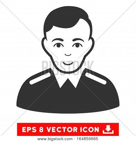 Vector Officer EPS vector pictogram. Illustration style is flat iconic gray symbol on a transparent background.