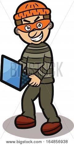Thief Stealing Laptop Cartoon Illustration. Vector Character Isolated on White.