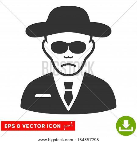 Vector Security Agent EPS vector pictogram. Illustration style is flat iconic gray symbol on a transparent background.