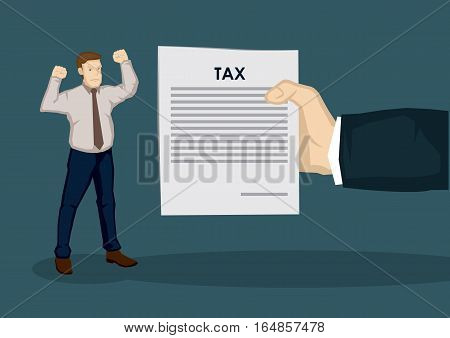 An angry cartoon man and a huge hand representing tax collector holding a document with title Tax. Creative vector illustration on taxation concept isolated on plain background.