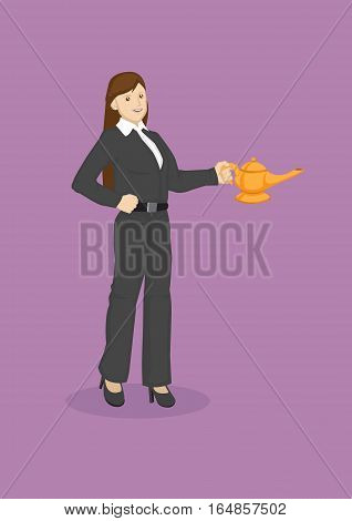 Vector illustration of cartoon business woman holding a magic lamp isolated on purple background.