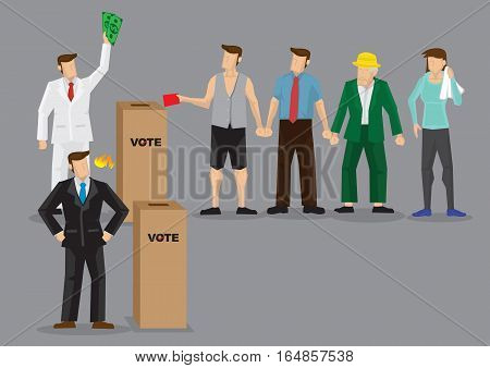 Rich man using money to buy votes. Vector illustration on unfair competition using bribery concept.