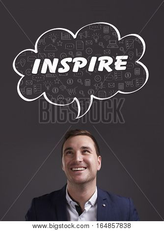 Business, Technology, Internet And Marketing. Young Businessman Thinking About: Inspire