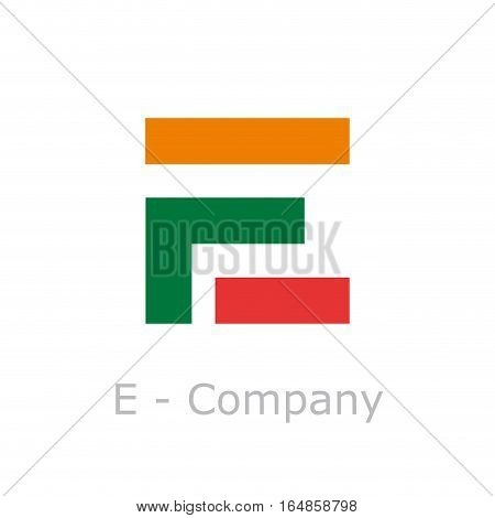 Vector sign abstract broken letter E, isolated illustration on white