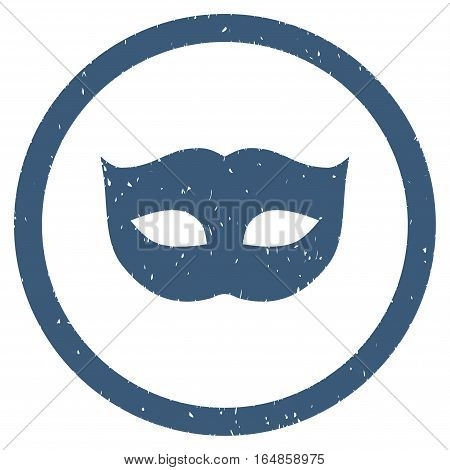 Privacy Mask rubber seal stamp watermark. Icon vector symbol with grunge design and unclean texture. Scratched blue ink sign on a white background.