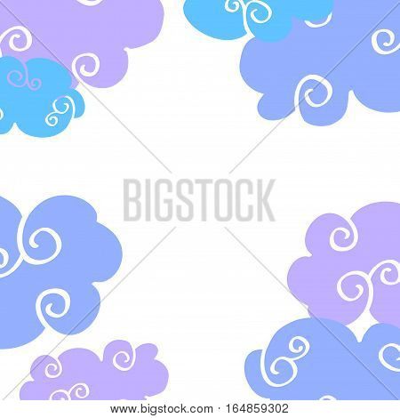 Vector daytime cartoon clouds frame. Drawing color curly clouds illustration flat