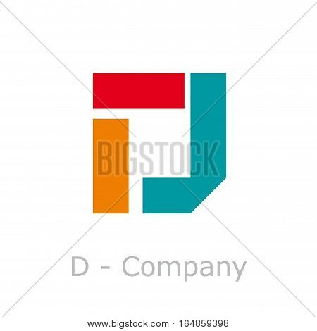 Vector sign abstract broken letter D, isolated illustration on white