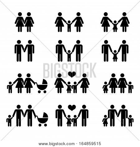 Vector gay family with children icons white. Illustration mother and mom with kid