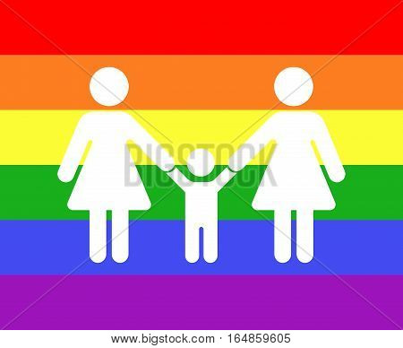 Gay family icon rainbow background. Love couple with children illustration