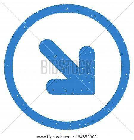 Arrow Down Right rubber seal stamp watermark. Icon vector symbol with grunge design and dust texture. Scratched cobalt ink sign on a white background.