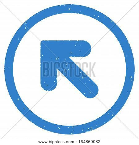 Arrow Up Left rubber seal stamp watermark. Icon vector symbol with grunge design and corrosion texture. Scratched cobalt ink sticker on a white background.