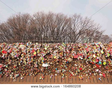 Seoul, South Korea - January 4, 2017 : Love padlocks wall at N Seoul Tower