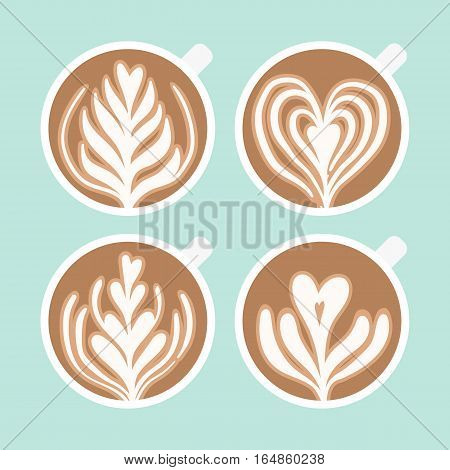 Cappuccino foam drawing. Coffee art. Vector hand drawn cartoon illustration.