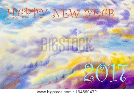 Watercolor painting landscape colorful of 2017 Happy new year in colorful sunset background