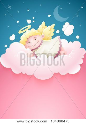 Pretty angel baby with wings sleeping at pink fluffy cloud under nighttime sky Moon and stars cartoon vector illustration copyspace. Place for text