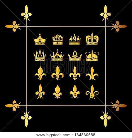 Set of golden vector crowns and fleur de lys black. Decoration medieval heraldic symbol illlustration