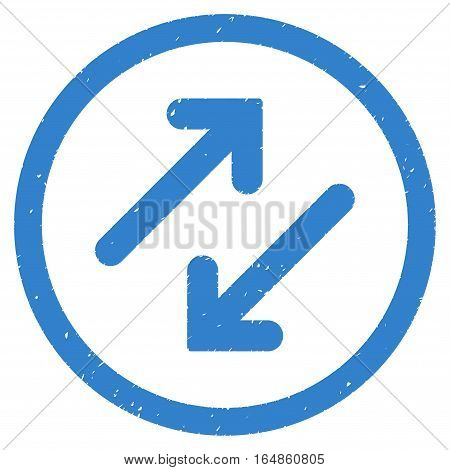 Diagonal Flipping Arrows rubber seal stamp watermark. Icon vector symbol with grunge design and corrosion texture. Scratched cobalt ink sign on a white background.