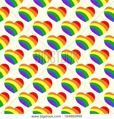 Gay LGBT seamless pattern with rainbow hearts isolated on white background. Vector illustration