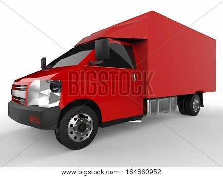 Small red truck. Car delivery service. Delivery of goods and products to retail outlets. 3d rendering