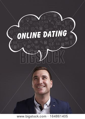 Business, Technology, Internet And Marketing. Young Businessman Thinking About: Online Dating