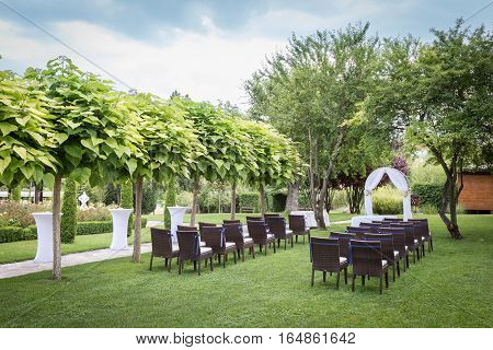settings for a wedding in the garden