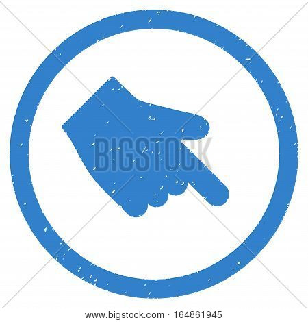 Index Finger Right Down Direction rubber seal stamp watermark. Icon vector symbol with grunge design and unclean texture. Scratched cobalt ink sign on a white background.