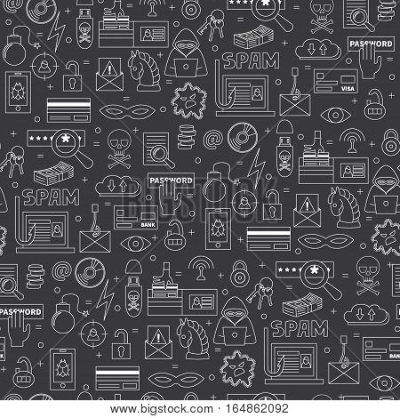 Hacking and cyber crime vector seamless pattern with icons of gadgets and  hacker's activities. Linear style. White icons on dark isolated background. Could be used as wallpaper, print or fabric.