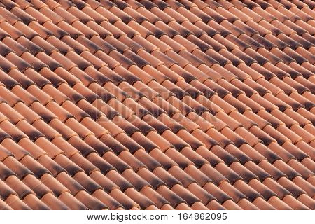 New roof tiles close up. Architectural background
