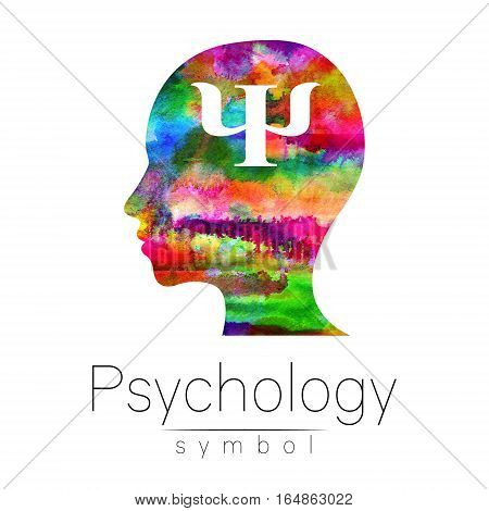 Modern Watercolor head logo of Psychology. Profile Human. Creative style. Logotype in . Design concept. Brand company. Rainbow bright color isolated on white background. Symbol for web, print, card