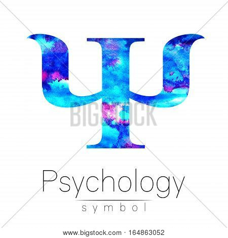 Modern Watercolor Psi logo of Psychology. Creative style. Logotype in . Design concept. Brand company. Blue bright color isolated on white background. Symbol for web, print, card