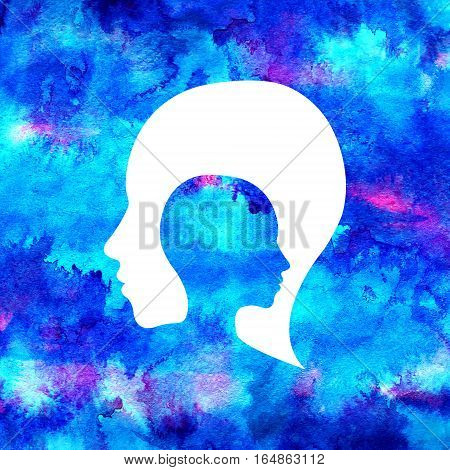 Modern Watercolor head logo of Psychology. Creative style. Logotype in . Design concept. Brand company. Blue bright color isolated on rainbow background. Symbol for web, print, card