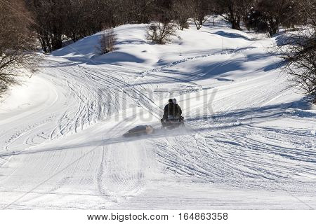 Snowmobile On The Slopes