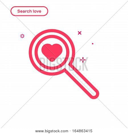 Vector illustration of search love concept in flat bold line style. Valentines day graphic design pink magnifier icon with heart. Outline object.