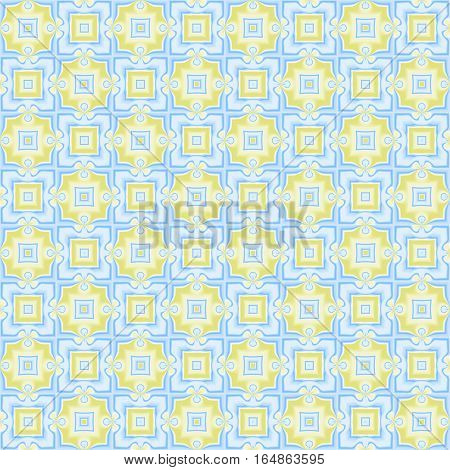 Abstract light checked blue and yellow pattern. Pale texture background. Seamless illustration.