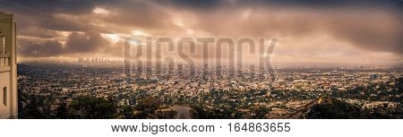 Panoramic photo of downtown Los Angeles California