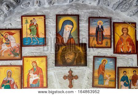 Many Orthodox Icons At Monastery Of St Gerasimus. Israel